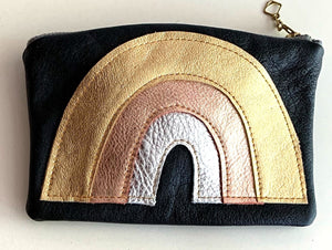 Rainbow pouch - goldcoppersilver