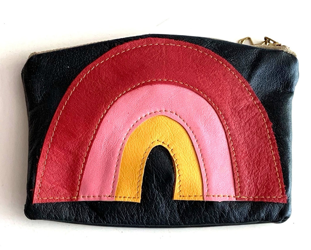 Rainbow pouch - redpinkyellow