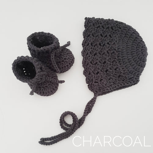 Charcoal Bamboo Bonnet and Bootie Set