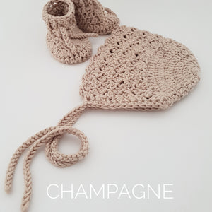 Champagne Bamboo Bonnet and Bootie Set