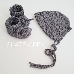 Slate Grey Bonnet and Bootie Set