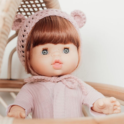 Doll Bear Bonnet - Eco Friendly (Fits 38cm Miniland Dolls)