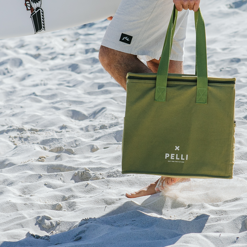 'Chill Homie' Picnic Bag - Message in a Bottle Green