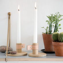 Load image into Gallery viewer, by Wirth Bright Light Candle Holder - Large - Natural Oak and Natural Leather