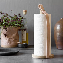 Load image into Gallery viewer, by Wirth Hands On Paper Towel Holder - Natural Oak and Natural Leather