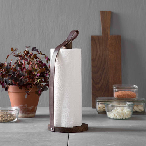 by Wirth Hands On Paper Towel Holder - Smoked Oak and Tanned Leather