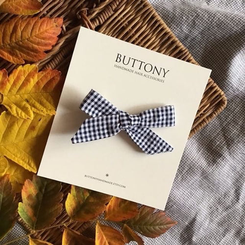 Gingham School Girl Bow