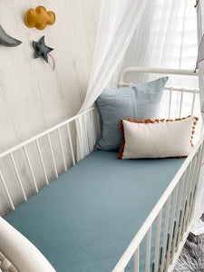 Pewter Blue Muslin Cot Sheet