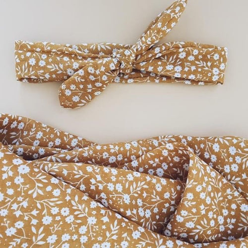 Mustard Floral Muslin Wrap and Head Scarf Set