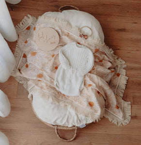 Daisy Swaddle with Natural Fringe