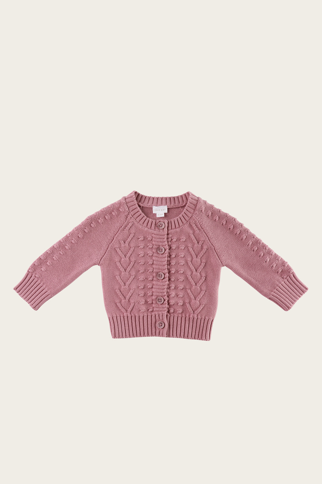 Cable Cardigan - Plum