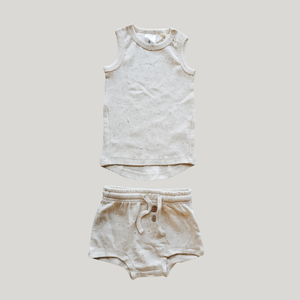 ORGANIC PJ Singlet Shorties Set - Cotton Speckled