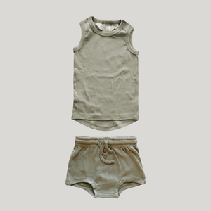 ORGANIC PJ Singlet Shorties Set - Sage