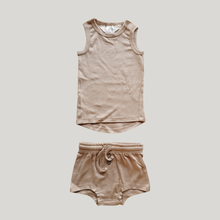 Load image into Gallery viewer, ORGANIC PJ Singlet Shorties Set - Tan