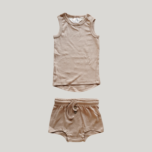 ORGANIC PJ Singlet Shorties Set - Tan