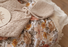 Load image into Gallery viewer, Peach Floral Swaddle with Natural Fringe