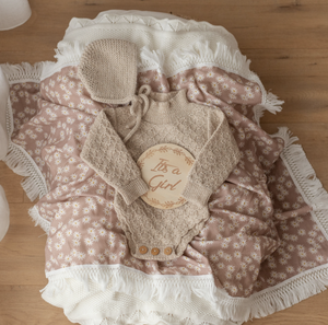 Mini Daisy Swaddle with Cream Fringe