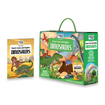 Sassi Travel, Learn and Explore - Puzzle & Book Set - Dinosaurs, 205 pcs