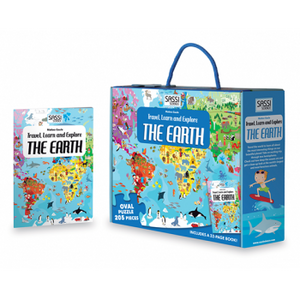 Sassi Travel, Learn and Explore - Puzzle & Book Set - Earth, 205 pcs