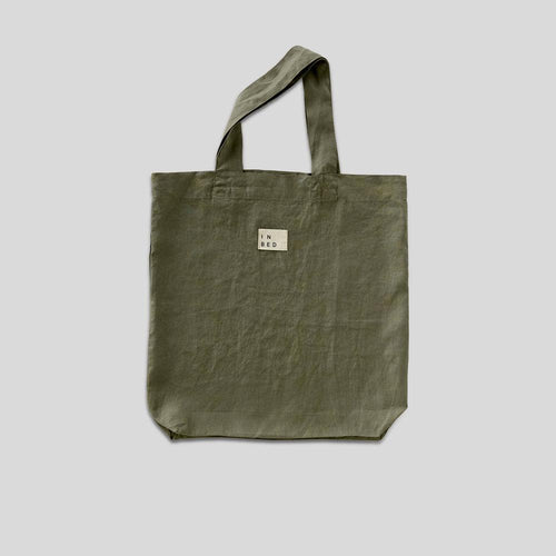 100% Linen Market Bag in Khaki
