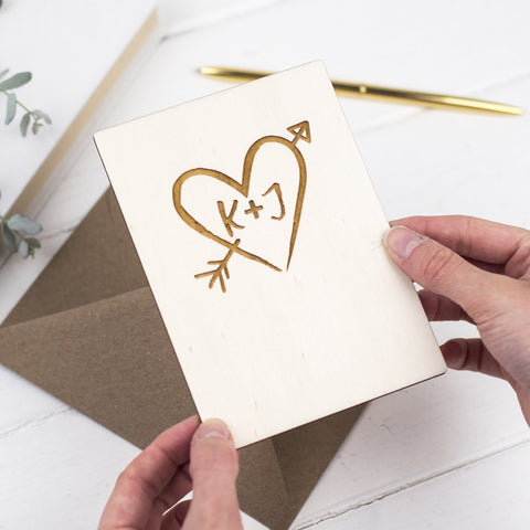 ENGRAVED WOODEN HEART CARD