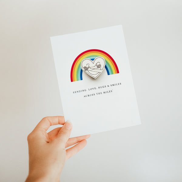 Rainbow Hug Pin Badge Card