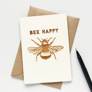 BEE HAPPY WOODEN CARD