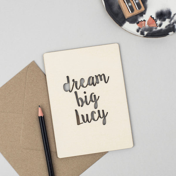 DREAM BIG WOODEN CARD