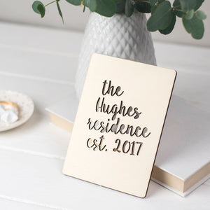 PERSONALISED FAMILY NAME WOODEN CARD