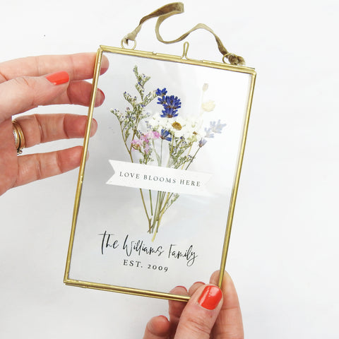 Love Blooms Here Personalised Floral Frame
