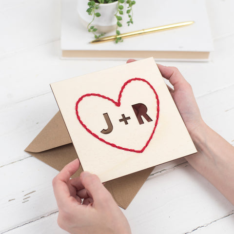 Cotton Embroidered Wooden Heart Card