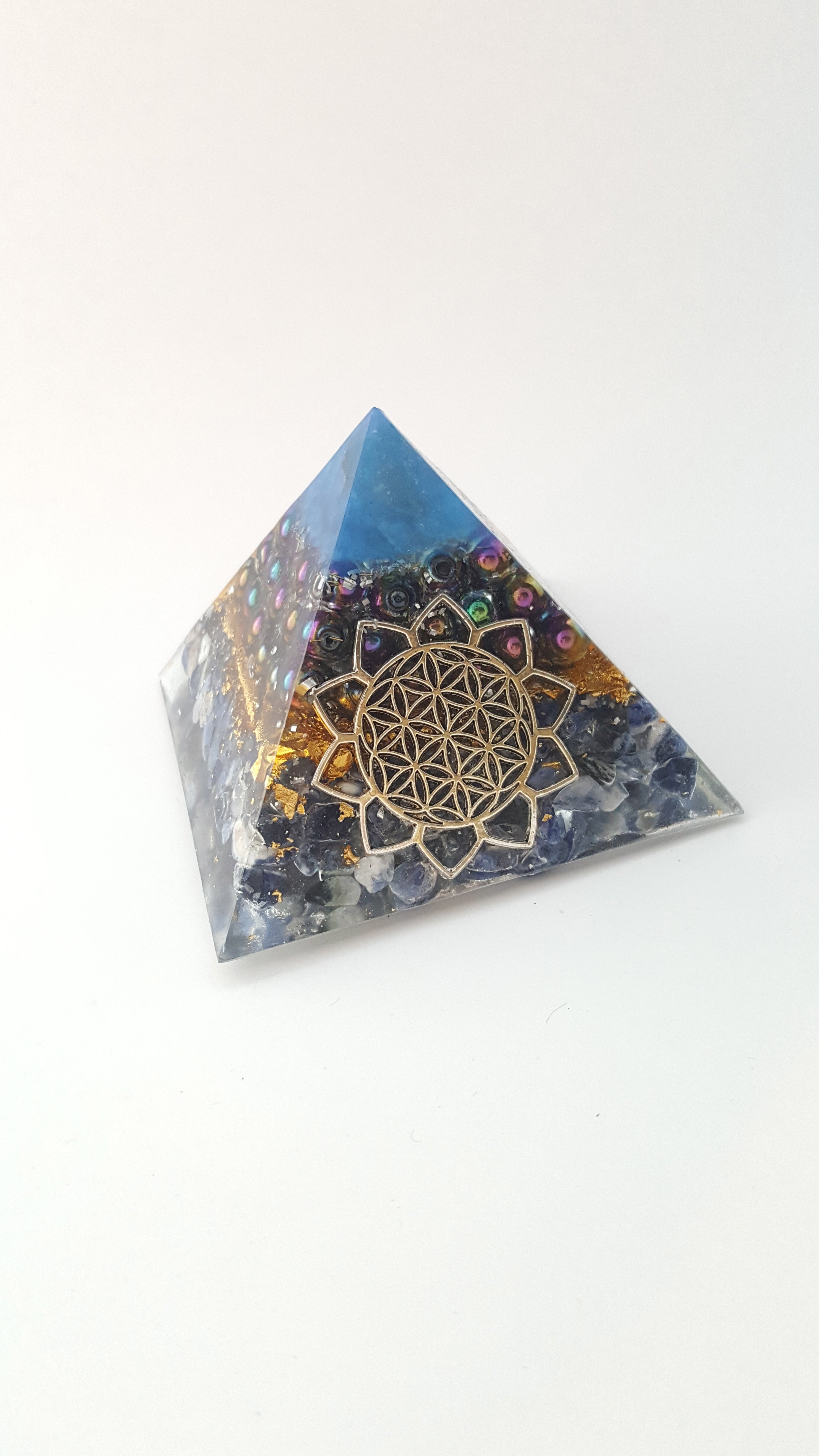 Chi Enhancing Pyramid — Large Blue Rainbow Hematite with Flower of Life