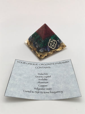 Chi Enhancing Pyramid — Small Red Malachite with Celtic Knot