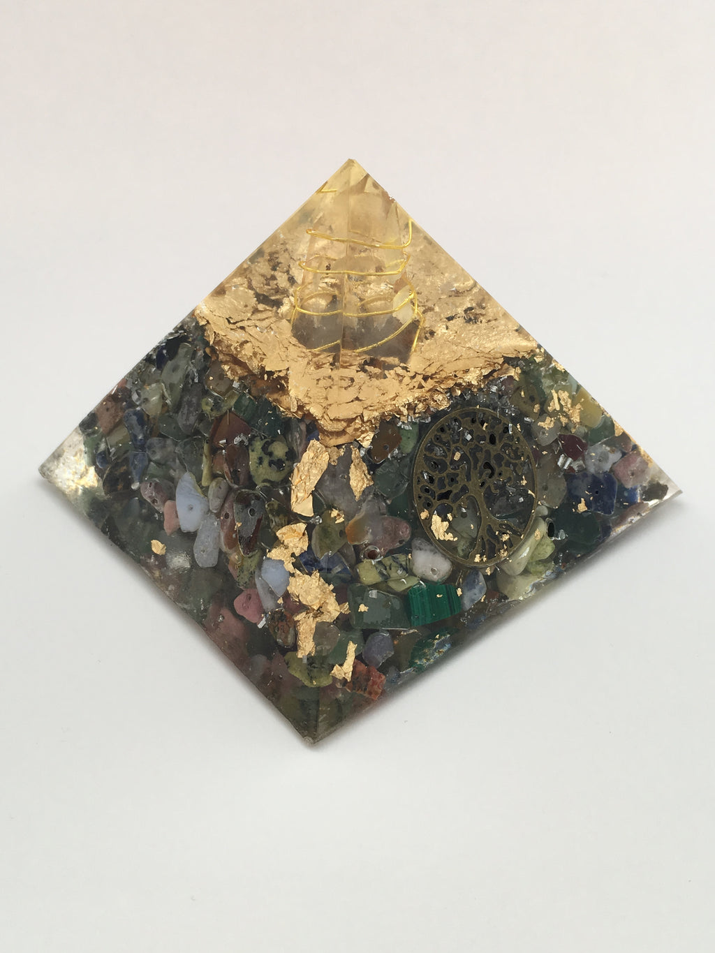 Chi Enhancing Pyramid — Large Mixed Gemstone with Bronze Tree of Life