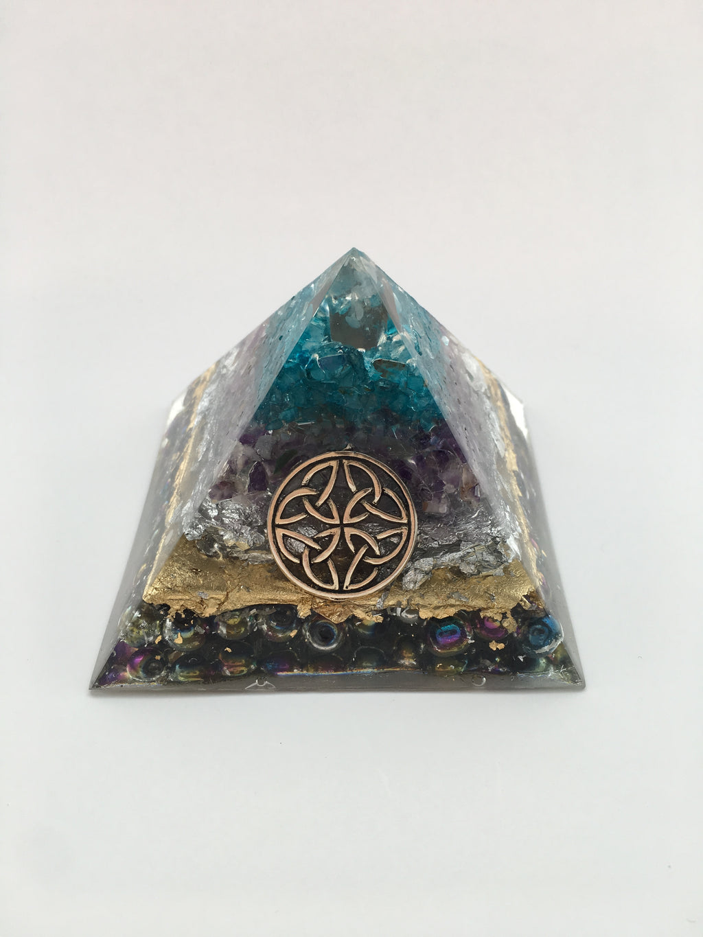 Chi Enhancing Pyramid — Large Blue Topaz Amethyst with Celtic Knot