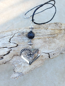 Heart with Rose Lava Bead Diffuser Necklace