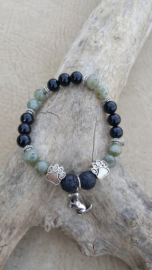 Pet Grief Kit for Dog — Labradorite Onyx Lava Bead Diffuser Bracelet