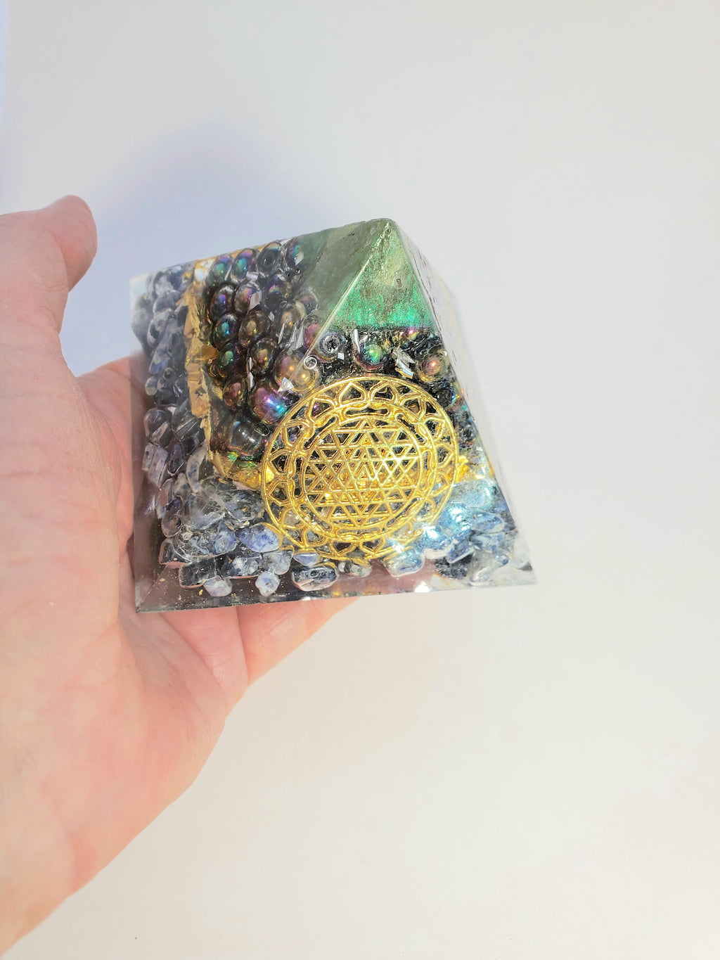 Chi Enhancing Pyramid — Large Green Rainbow Hematite with Sri Yantra