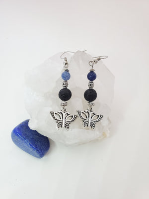 Butterfly with Blue Aventurine Lava Bead Diffuser Earrings