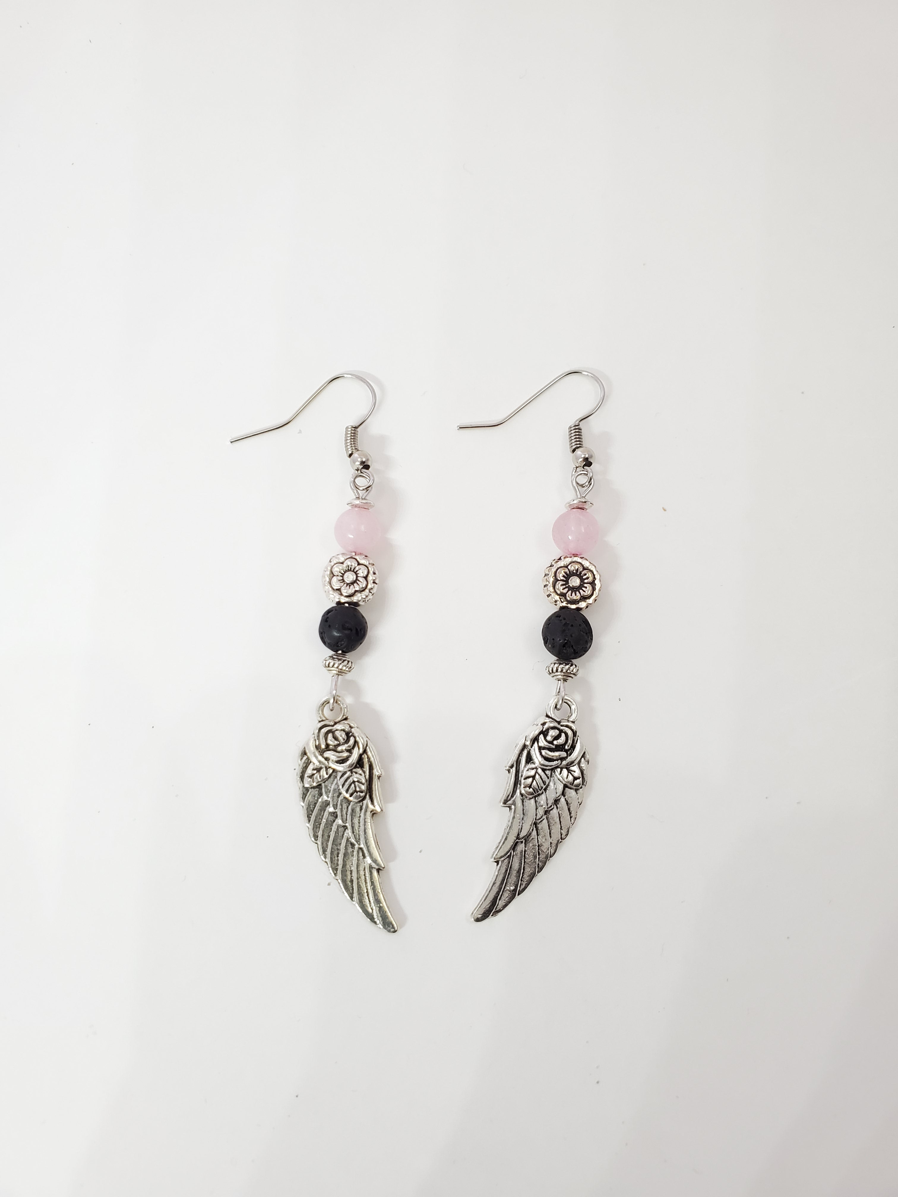 Angel Wing with Rose Quartz Lava Bead Diffuser Earrings
