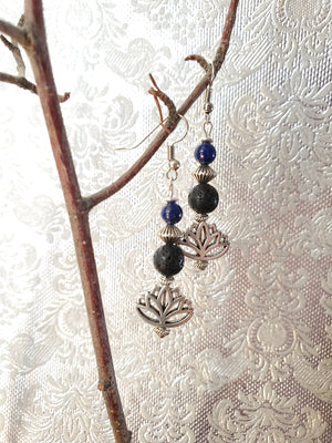 Lotus with Lapis Lava Bead Diffuser Earrings