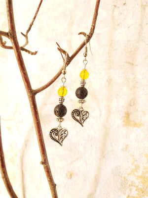 Vintage Tibetan Heart with Citrine Lava Bead Diffuser Earrings