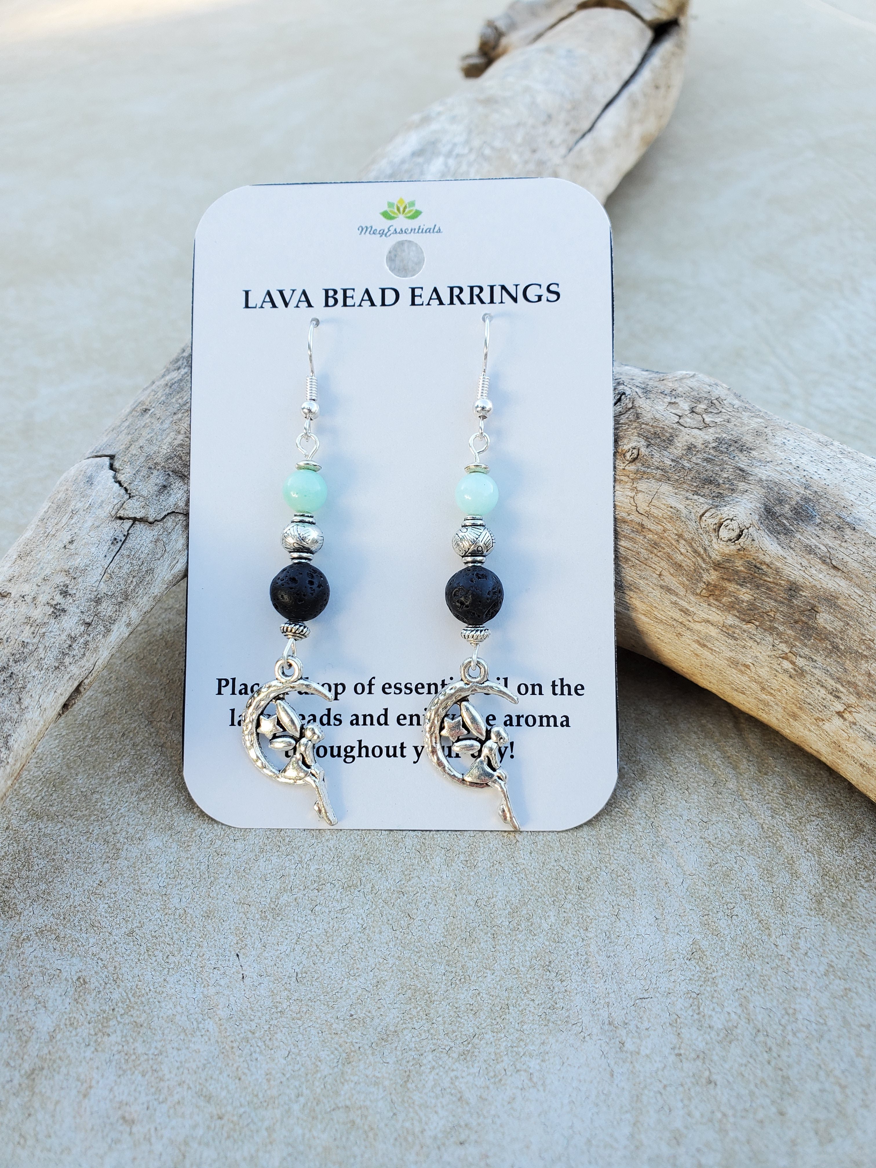 Fairy on Moon with Amazonite Lava Bead Diffuser Earrings