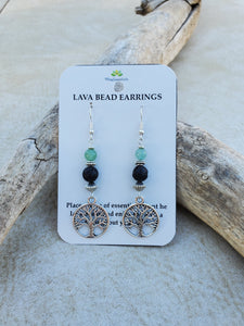 Tree of Life Aventurine Lava Bead Diffuser Earrings