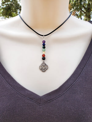 Celtic Knot Chakra Lava Bead Diffuser Necklace
