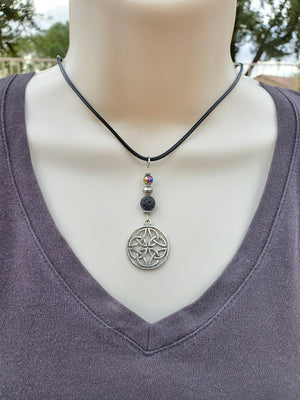 Celtic Knot Rainbow Hematite Lava Bead Diffuser Necklace