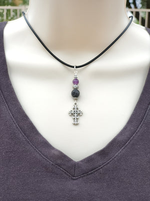 Cross Amethyst Lava Bead Diffuser Necklace