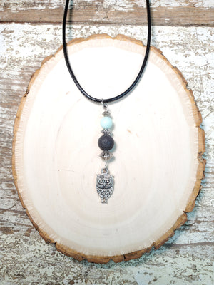 Owl with Amazonite Lava Bead Diffuser Necklace