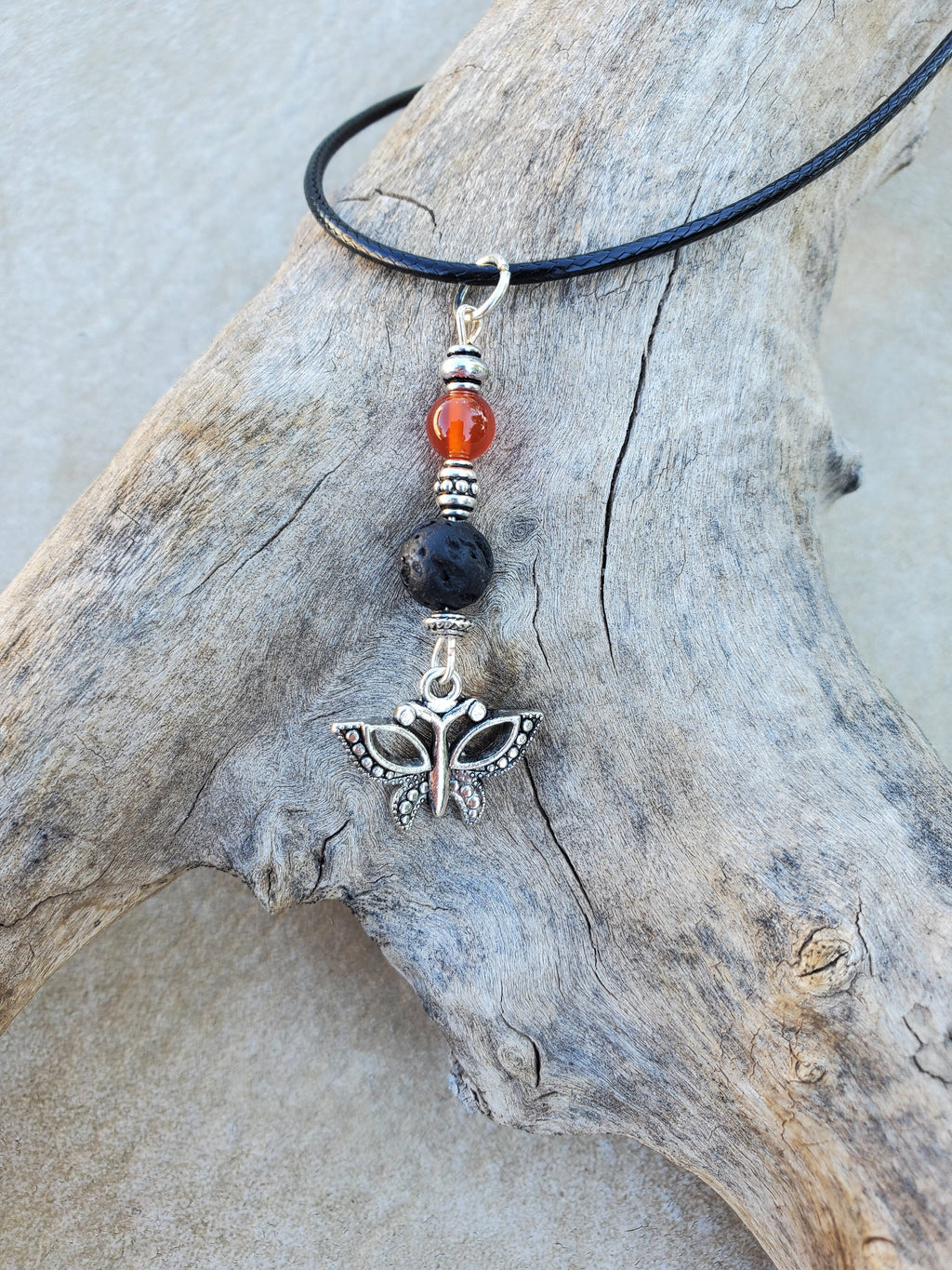Butterfly Carnelian Lava Bead Diffuser Necklace