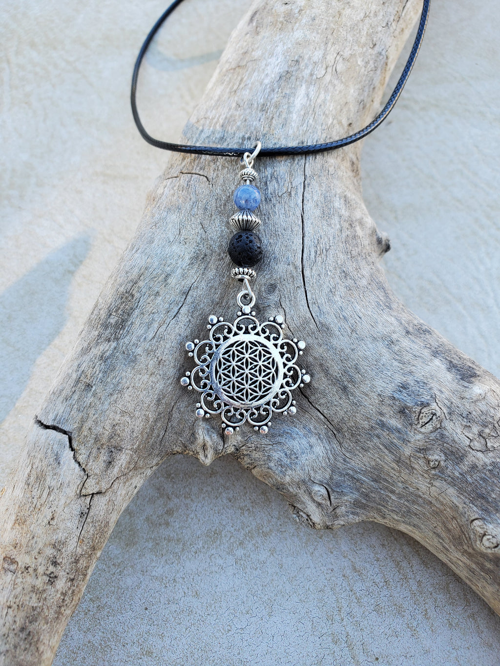Flower of Life Blue Aventurine Lava Bead Diffuser Necklace